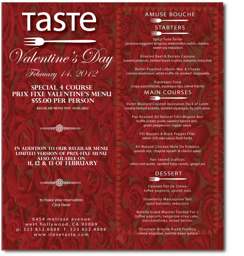 La Valentine S Day Menus Finerthings La